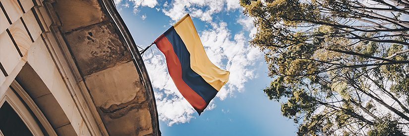 Flag of Colombia on a building in Bogota