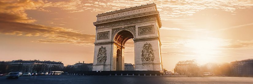 The Arc de Triomphe in Paris during sunset
