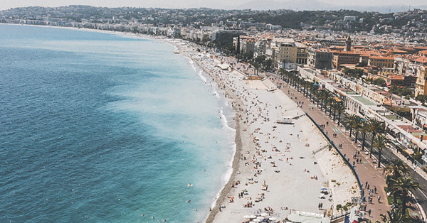 Aerial shot of the beach in Nice, France