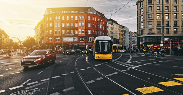 Street shot at an intersection in Berlin, Germany