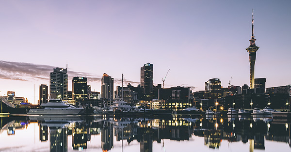 Sunset skyline of Auckland, New Zealand