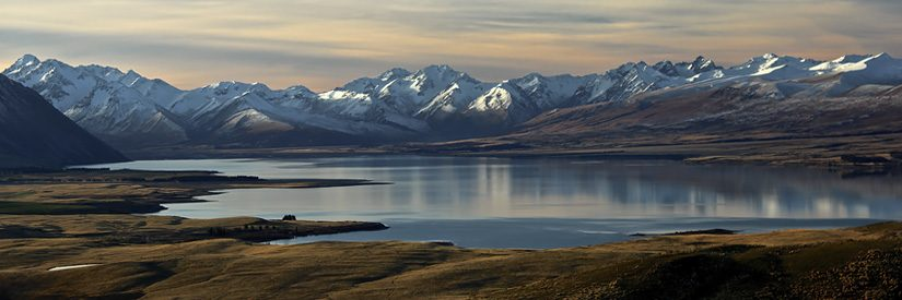 Landscape with Lake Tekapo in foreground (New Zealand)