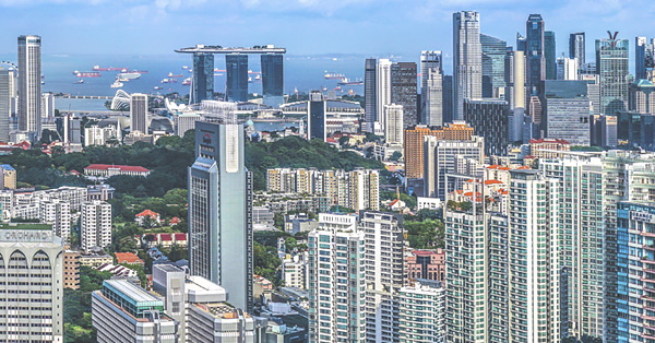 Cityscape of buildings and parks in Singapore