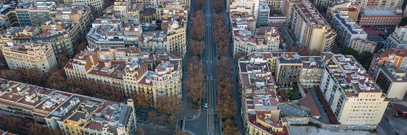 Aerial shot of Barcelona neighbourhoods