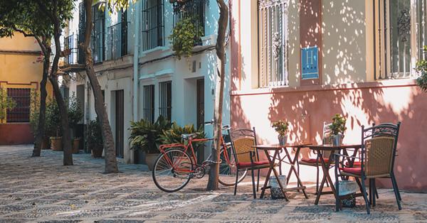 A quiet side street in Seville, Spain