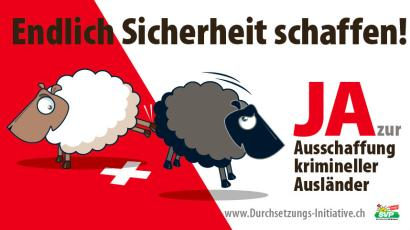 """Political poster depicting outsiders in Switzerland as """"black sheep"""""""