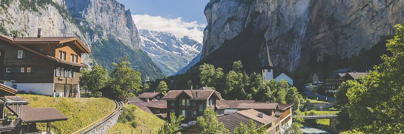 Mountain village of Lauterbrunnen in the Swiss Alps