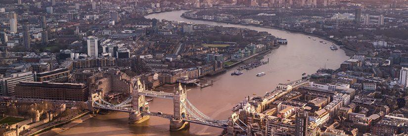 Aerial shot of London, United Kingdom at sunset