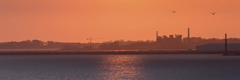 Sunset, with the cityscape of Montevideo, Uruguay, in the background